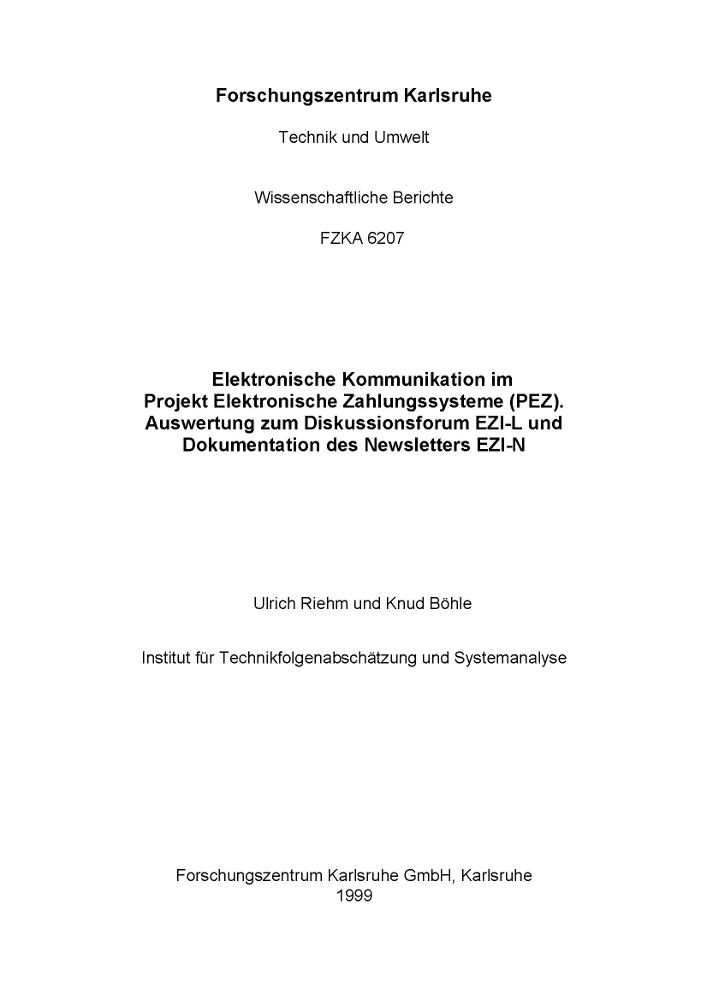 KIT - ITAS - Service - News-Archiv - 1999 - Neuer Bericht aus dem ...